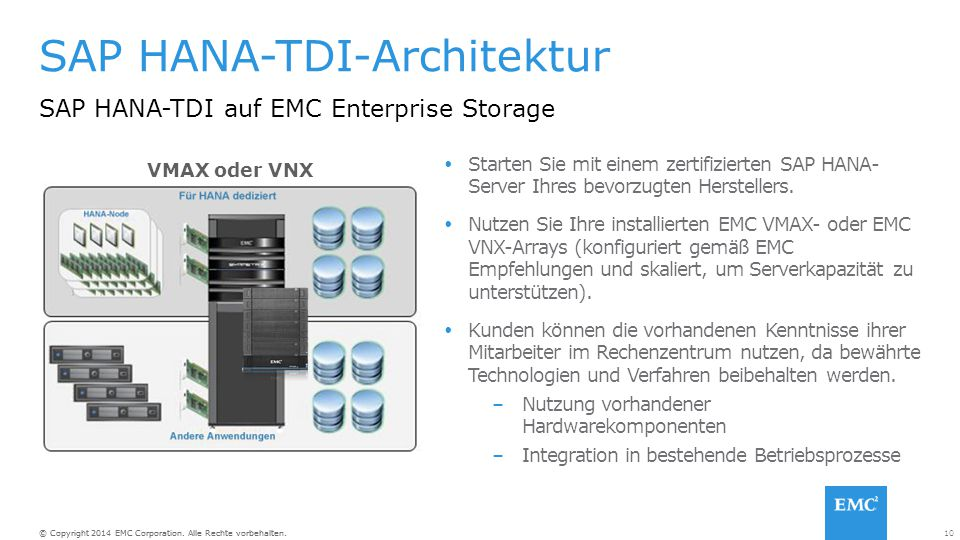 SAP HANA-TDI-Architektur SAP HANA-TDI auf EMC Enterprise Storage