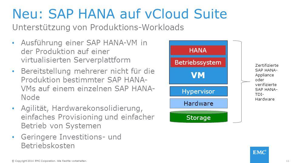 Neu: SAP HANA auf vCloud Suite