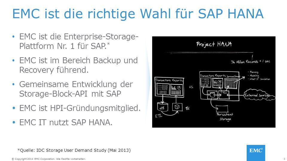 EMC ist die richtige Wahl für SAP HANA
