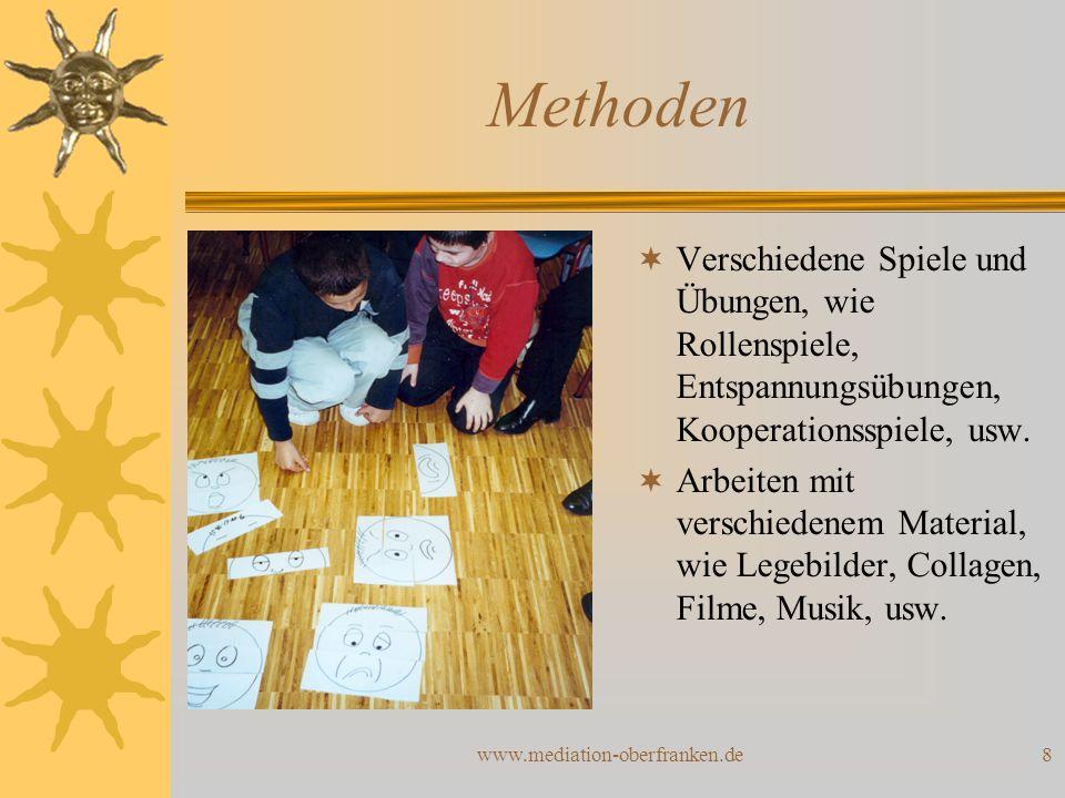 Methoden Verschiedene Spiele und Übungen, wie Rollenspiele, Entspannungsübungen, Kooperationsspiele, usw.