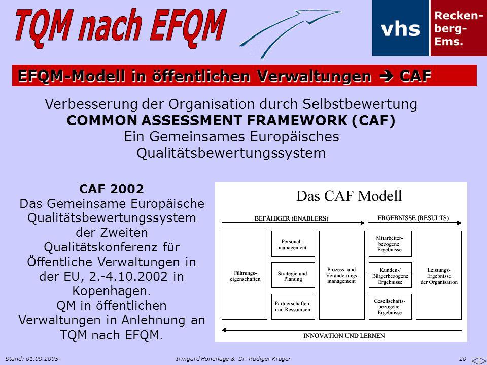 EFQM-Modell in öffentlichen Verwaltungen  CAF