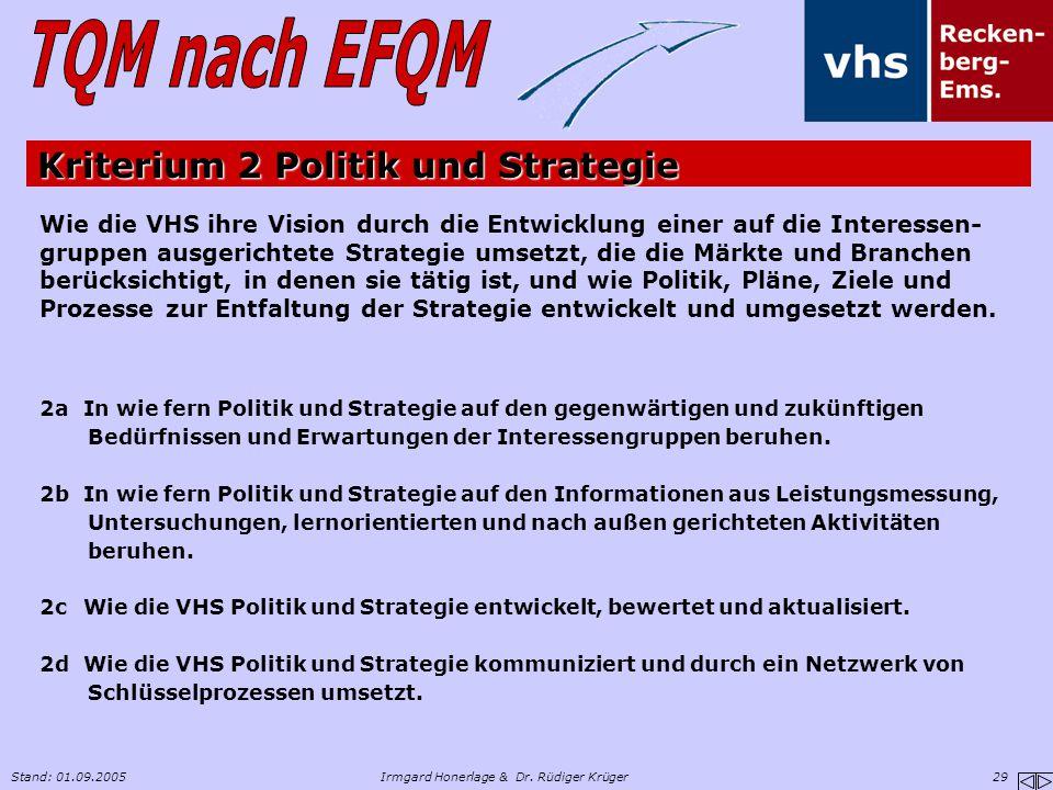 Kriterium 2 Politik und Strategie