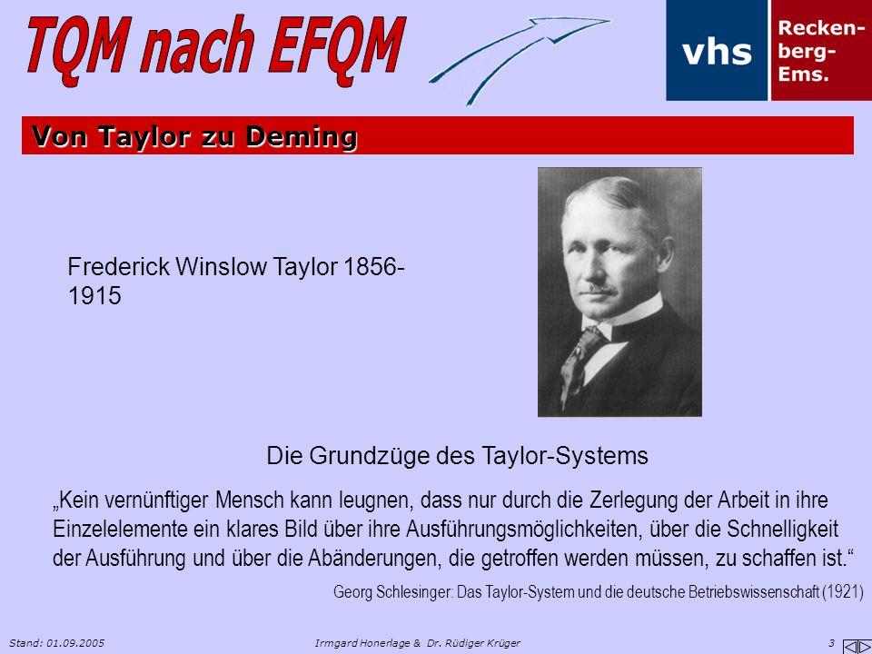 Von Taylor zu Deming Frederick Winslow Taylor 1856-1915