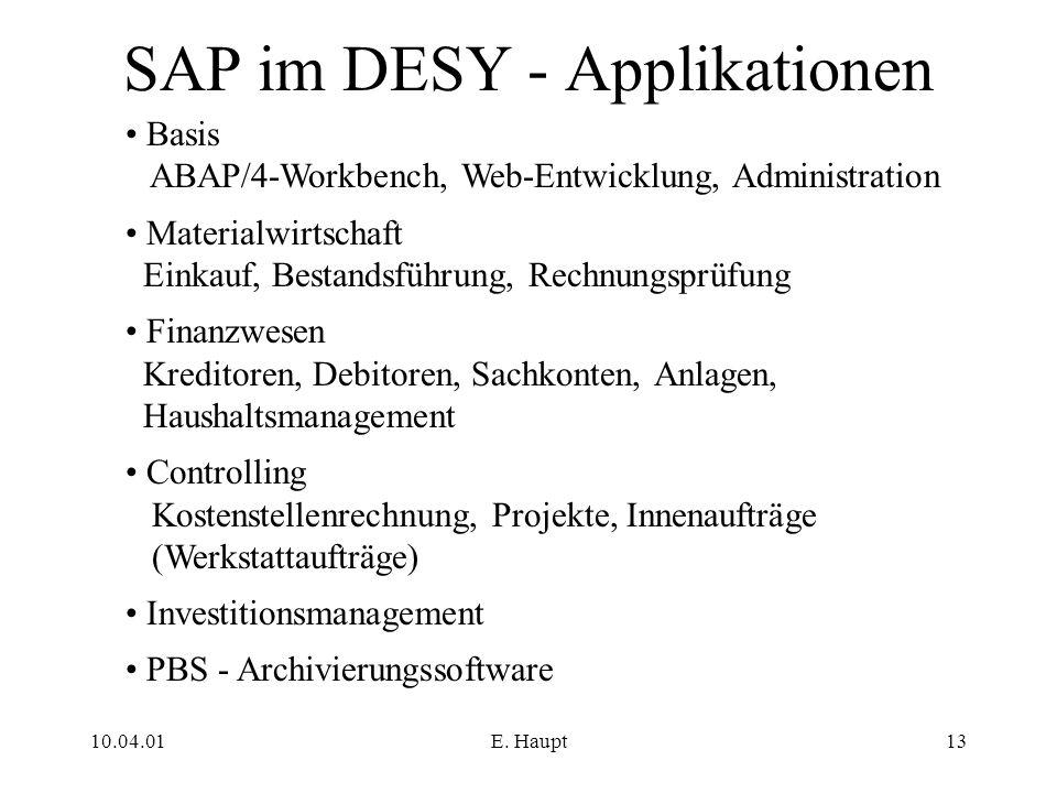 SAP im DESY - Applikationen
