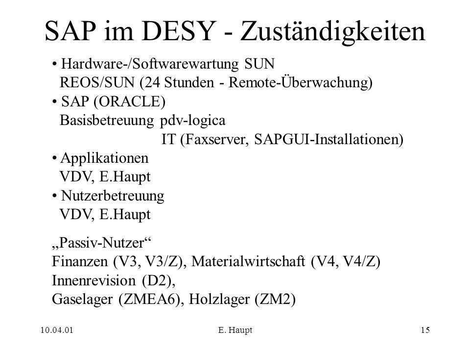 SAP im DESY - Zuständigkeiten