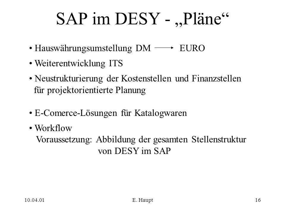 """SAP im DESY - """"Pläne Hauswährungsumstellung DM EURO"""