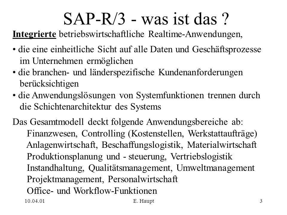 SAP-R/3 - was ist das Integrierte betriebswirtschaftliche Realtime-Anwendungen, die eine einheitliche Sicht auf alle Daten und Geschäftsprozesse.