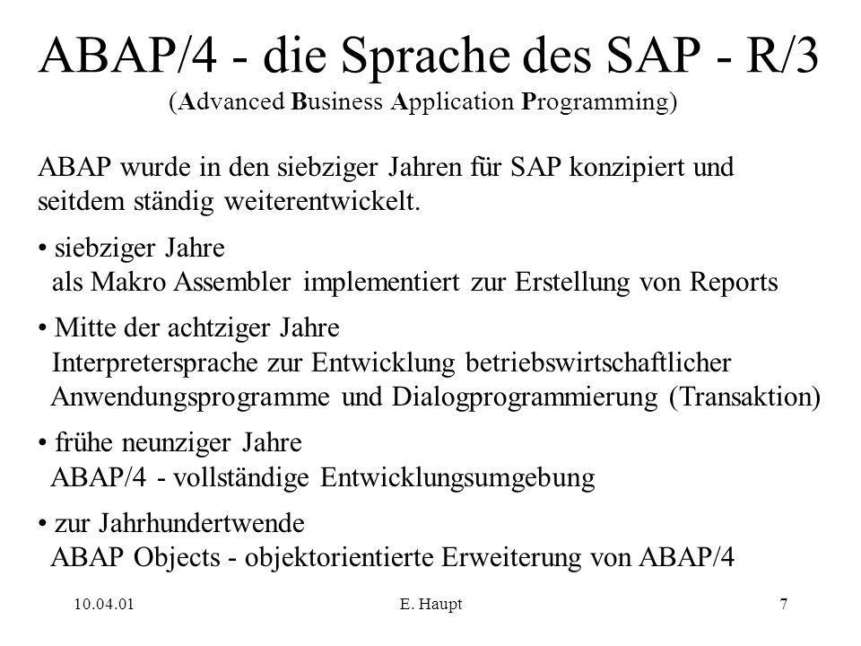 ABAP/4 - die Sprache des SAP - R/3 (Advanced Business Application Programming)