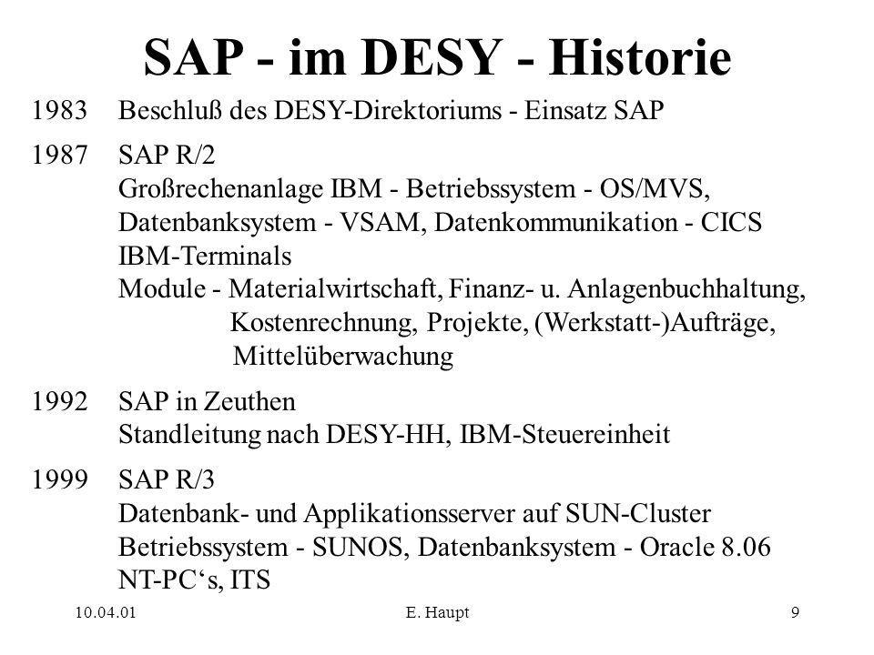 SAP - im DESY - Historie 1983 Beschluß des DESY-Direktoriums - Einsatz SAP. 1987 SAP R/2. Großrechenanlage IBM - Betriebssystem - OS/MVS,