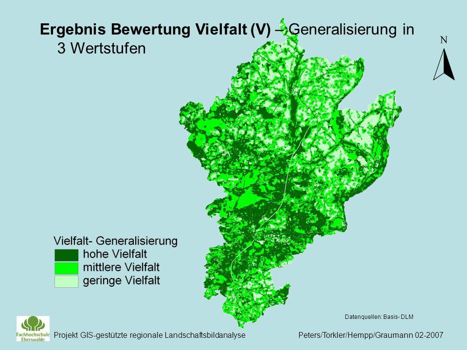 Ergebnis Bewertung Vielfalt (V) – Generalisierung in 3 Wertstufen