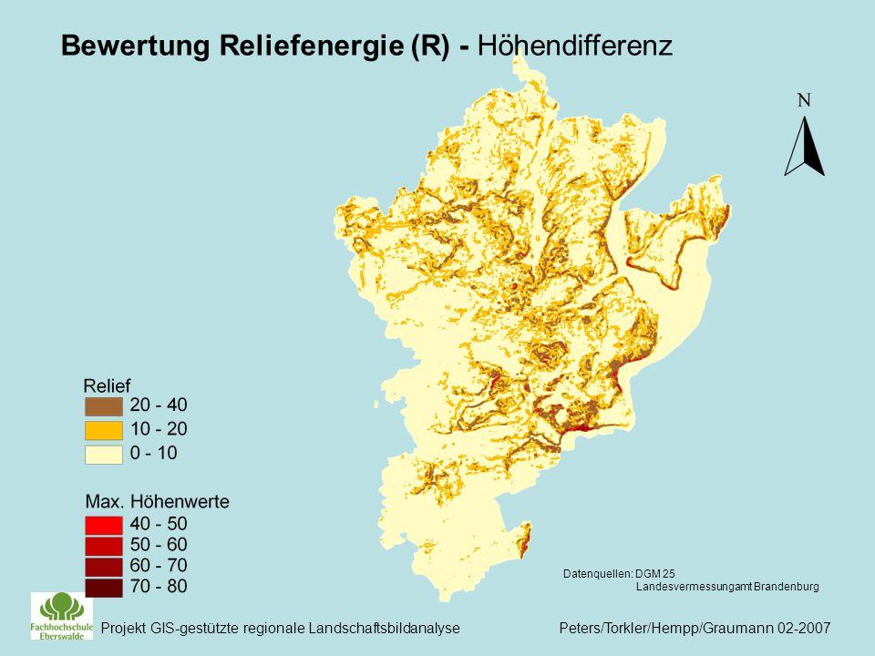 Bewertung Reliefenergie (R) - Höhendifferenz