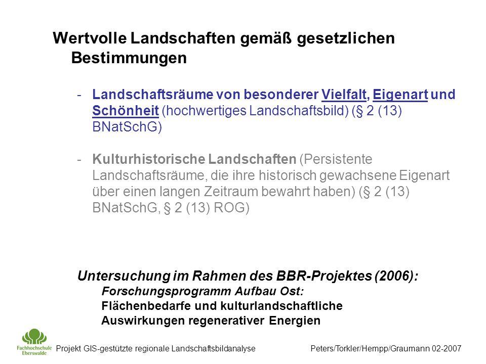 Wertvolle Landschaften gemäß gesetzlichen Bestimmungen