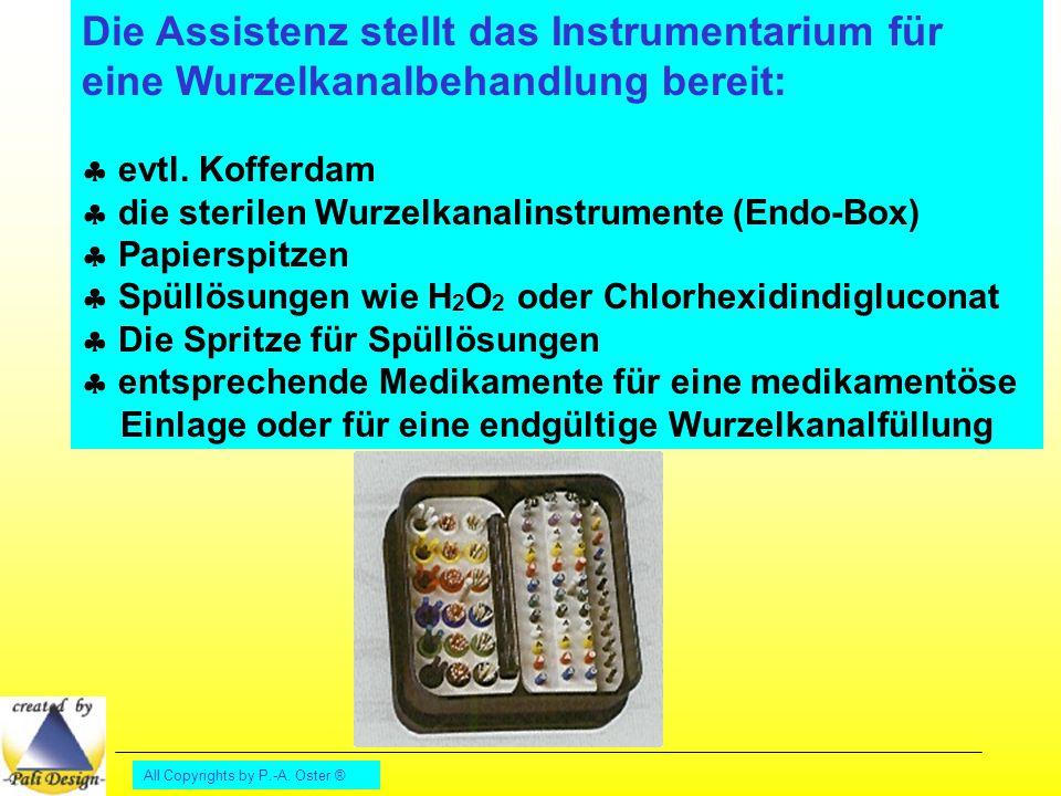 Die Assistenz stellt das Instrumentarium für eine Wurzelkanalbehandlung bereit: