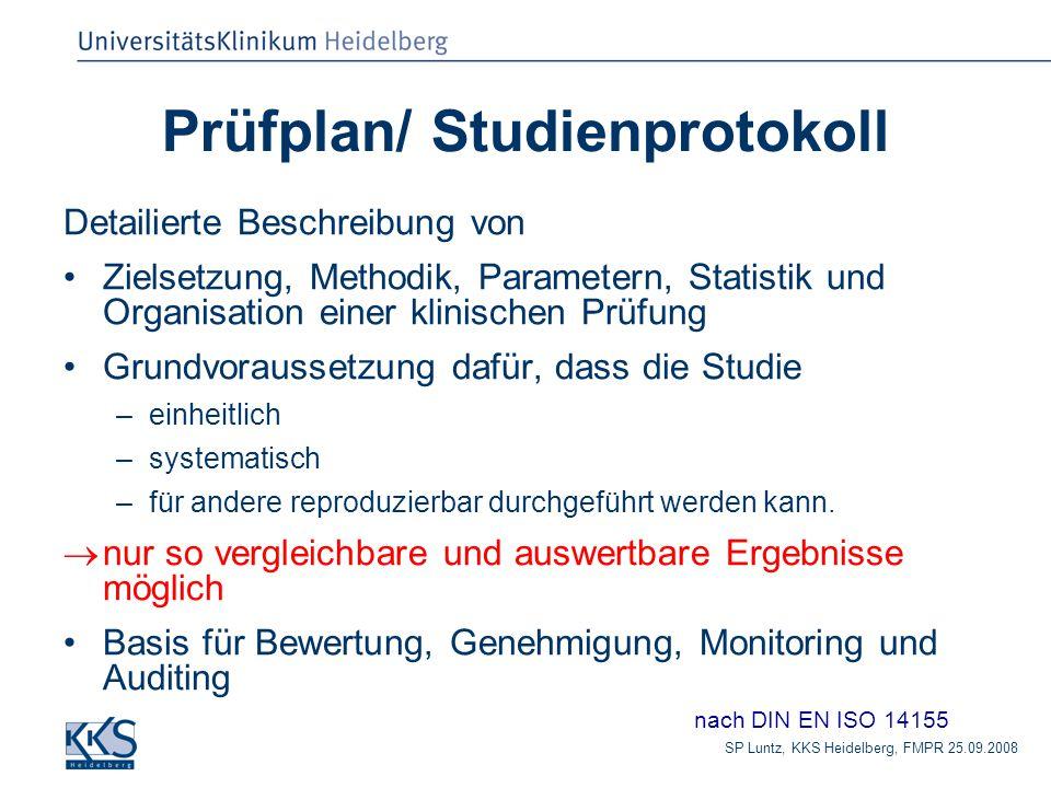 Prüfplan/ Studienprotokoll