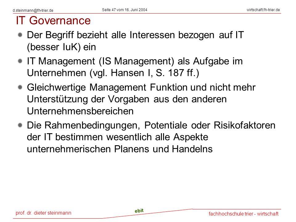 IT Governance Der Begriff bezieht alle Interessen bezogen auf IT (besser IuK) ein.