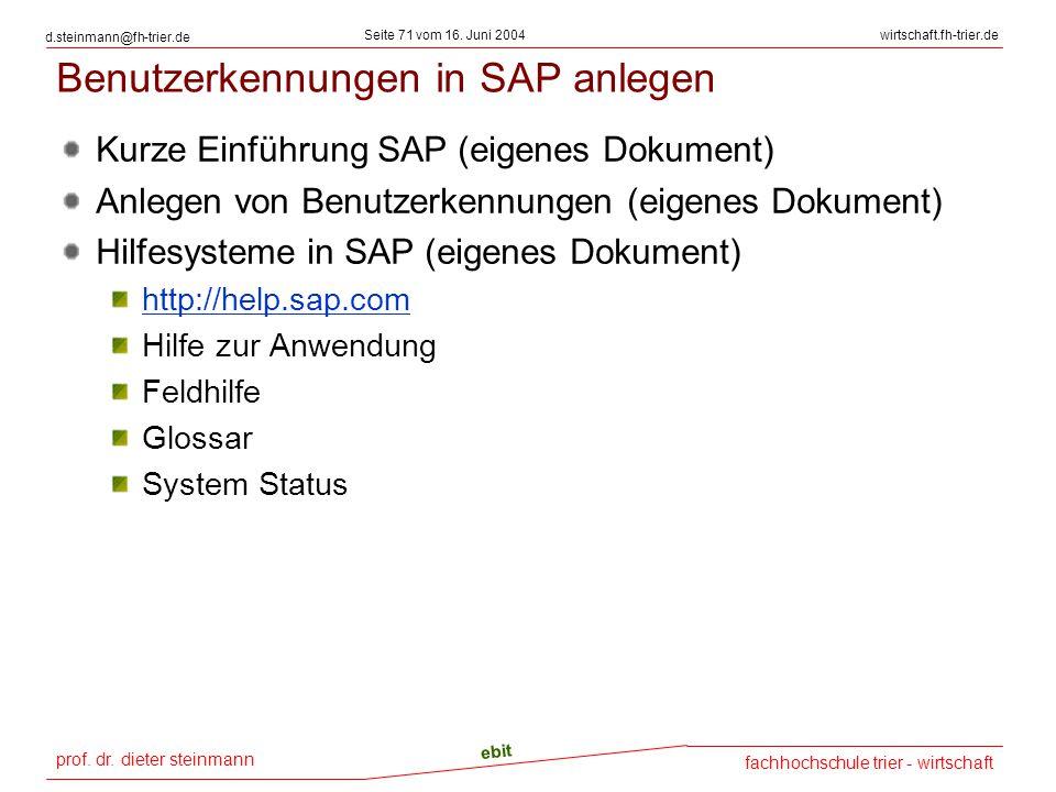 Benutzerkennungen in SAP anlegen