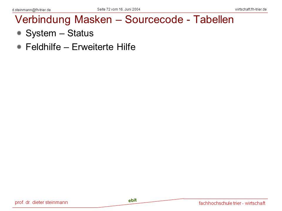 Verbindung Masken – Sourcecode - Tabellen