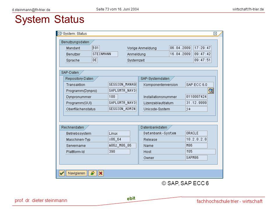 System Status © SAP, SAP ECC 6