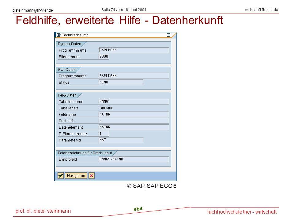 Feldhilfe, erweiterte Hilfe - Datenherkunft