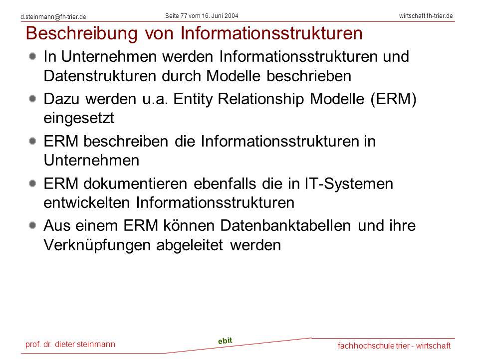Beschreibung von Informationsstrukturen