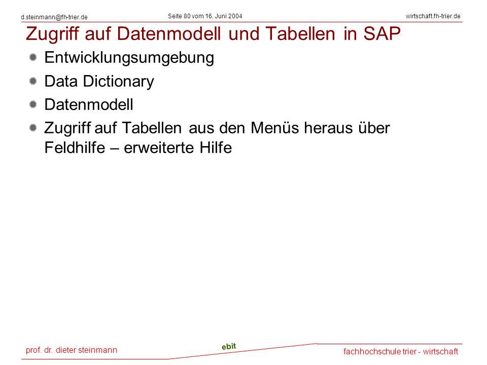 Zugriff auf Datenmodell und Tabellen in SAP