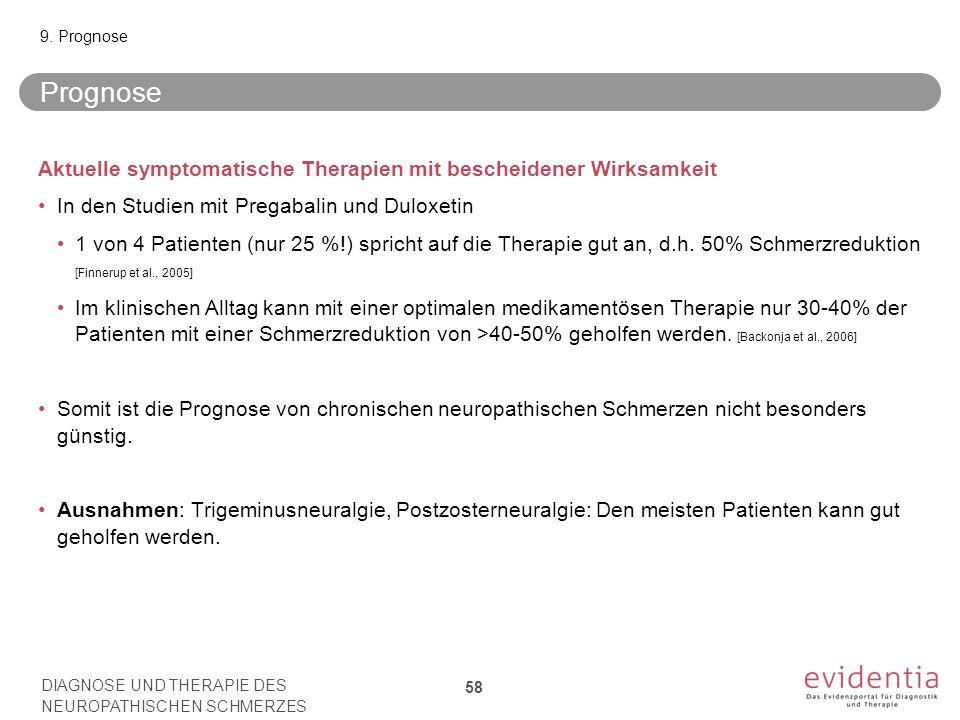 9. Prognose Prognose. Aktuelle symptomatische Therapien mit bescheidener Wirksamkeit. In den Studien mit Pregabalin und Duloxetin.