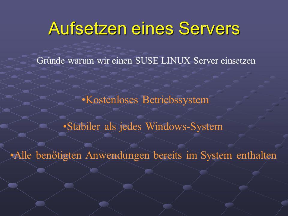 Aufsetzen eines Servers