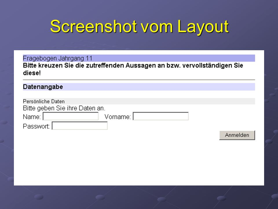 Screenshot vom Layout