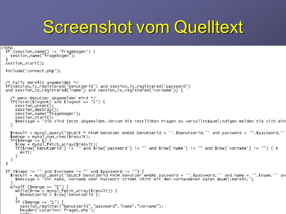 Screenshot vom Quelltext
