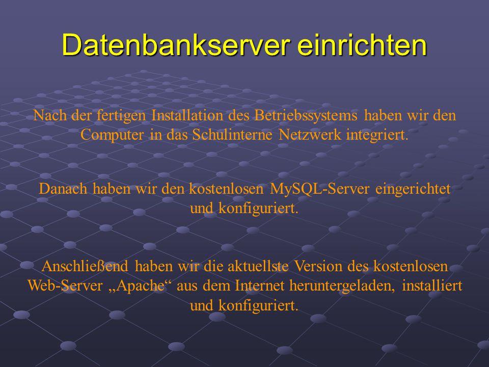Datenbankserver einrichten