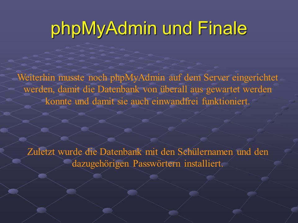 phpMyAdmin und Finale