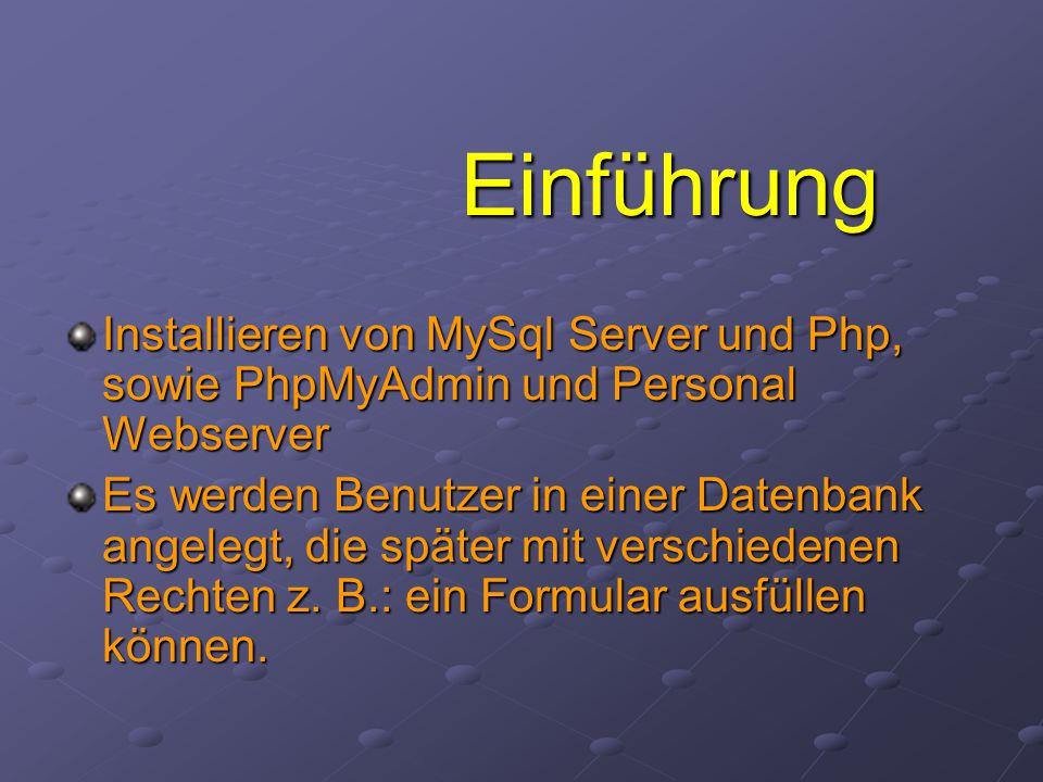 Einführung Installieren von MySql Server und Php, sowie PhpMyAdmin und Personal Webserver.