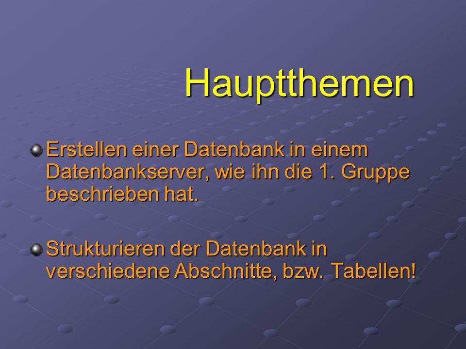 Hauptthemen Erstellen einer Datenbank in einem Datenbankserver, wie ihn die 1. Gruppe beschrieben hat.