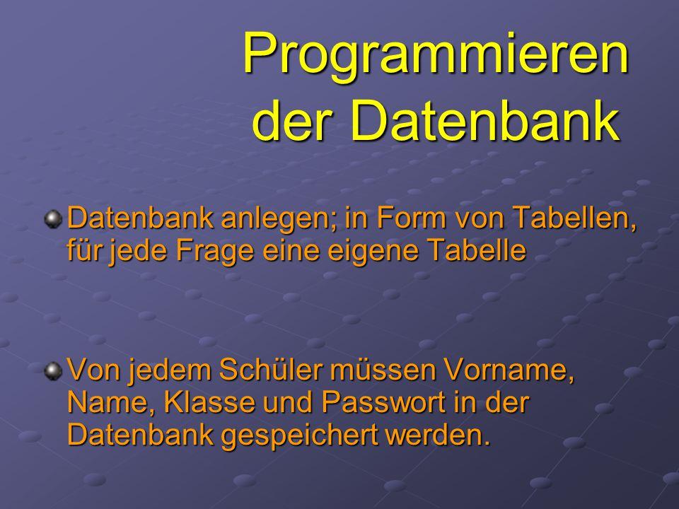 Programmieren der Datenbank