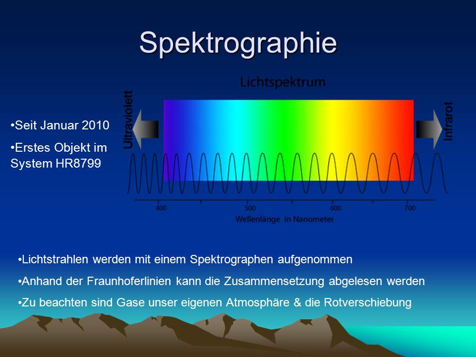 Spektrographie Seit Januar 2010 Erstes Objekt im System HR8799