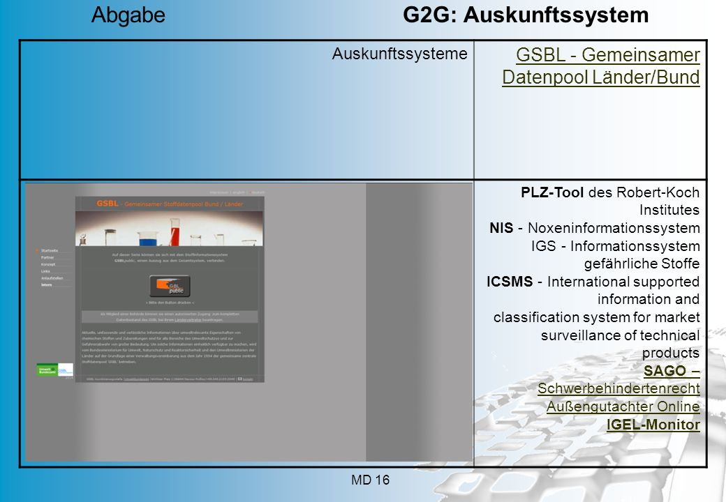 Abgabe G2G: Auskunftssystem