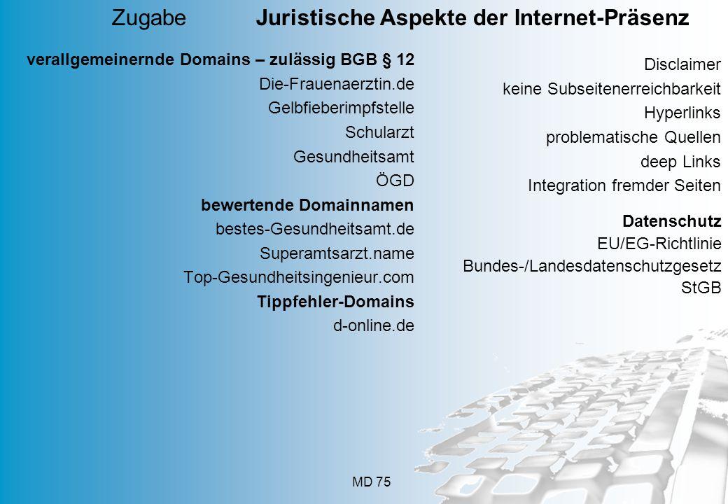 Zugabe Juristische Aspekte der Internet-Präsenz