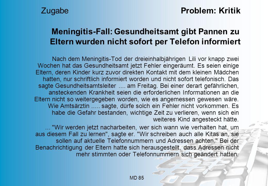 Zugabe Problem: Kritik