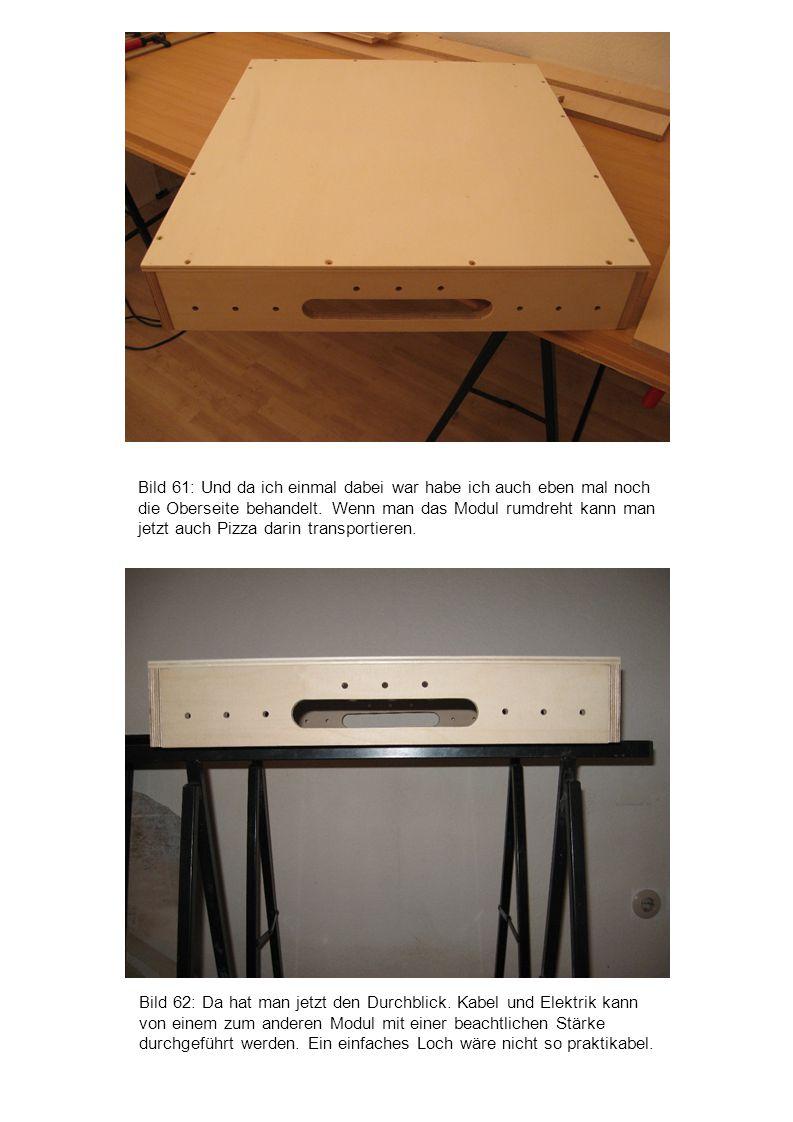 Bild 61: Und da ich einmal dabei war habe ich auch eben mal noch die Oberseite behandelt. Wenn man das Modul rumdreht kann man jetzt auch Pizza darin transportieren.
