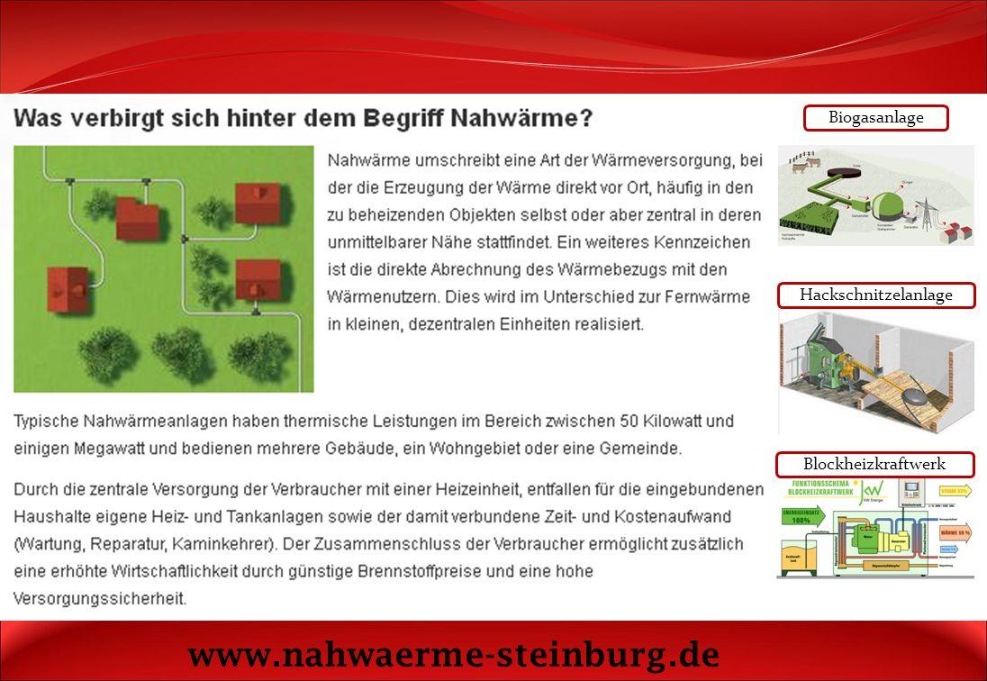 www.nahwaerme-steinburg.de Biogasanlage Hackschnitzelanlage
