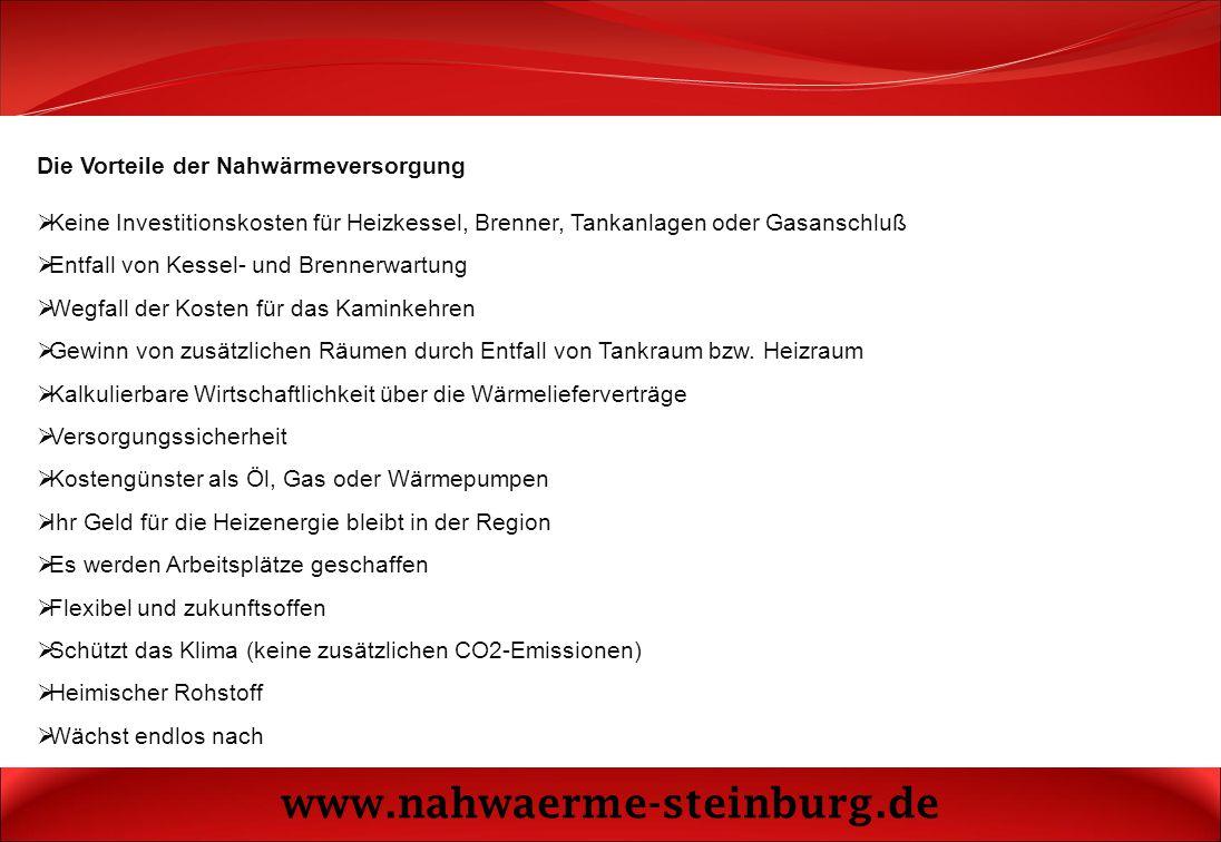 www.nahwaerme-steinburg.de Die Vorteile der Nahwärmeversorgung