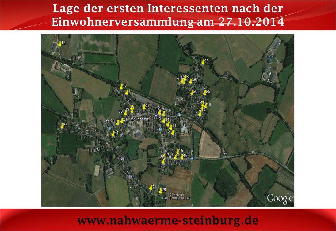 Lage der ersten Interessenten nach der Einwohnerversammlung am 27. 10