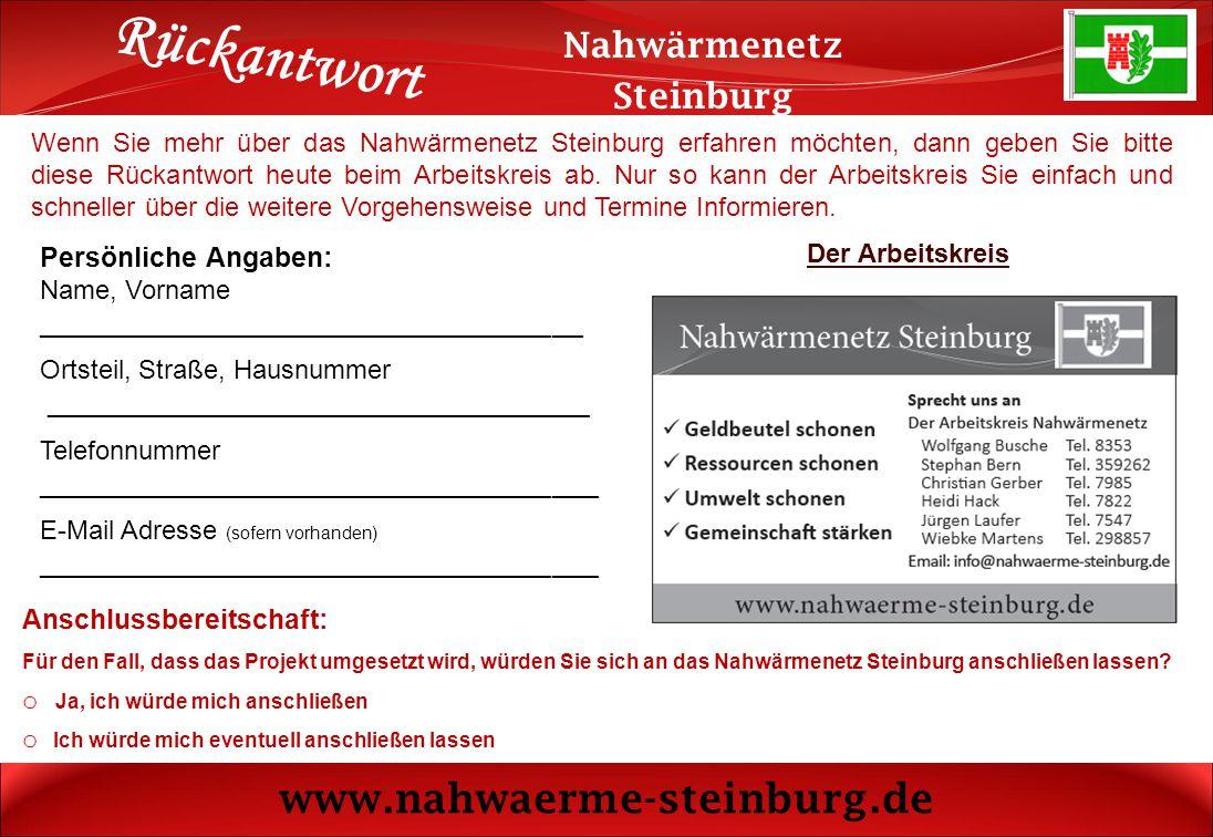 Rückantwort www.nahwaerme-steinburg.de Nahwärmenetz Steinburg