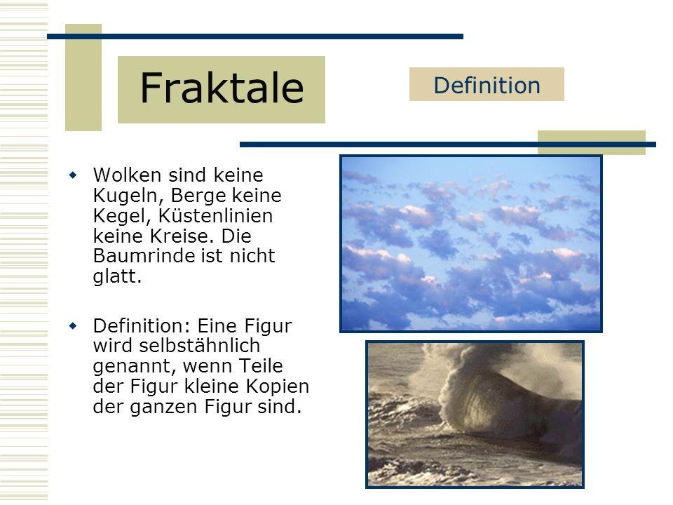 Fraktale Definition. Wolken sind keine Kugeln, Berge keine Kegel, Küstenlinien keine Kreise. Die Baumrinde ist nicht glatt.