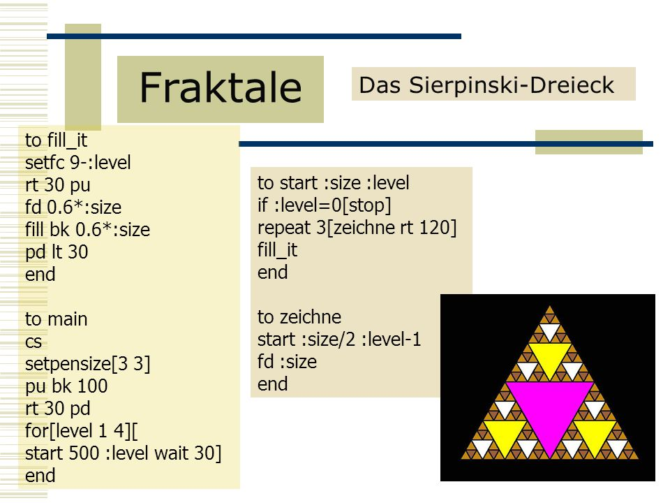 Fraktale Das Sierpinski-Dreieck to fill_it setfc 9-:level rt 30 pu