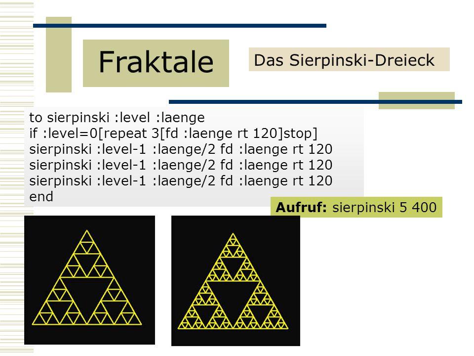 Fraktale Das Sierpinski-Dreieck to sierpinski :level :laenge