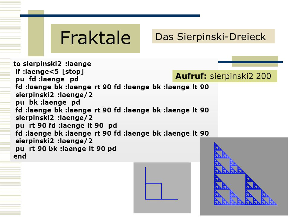 Fraktale Das Sierpinski-Dreieck Aufruf: sierpinski2 200