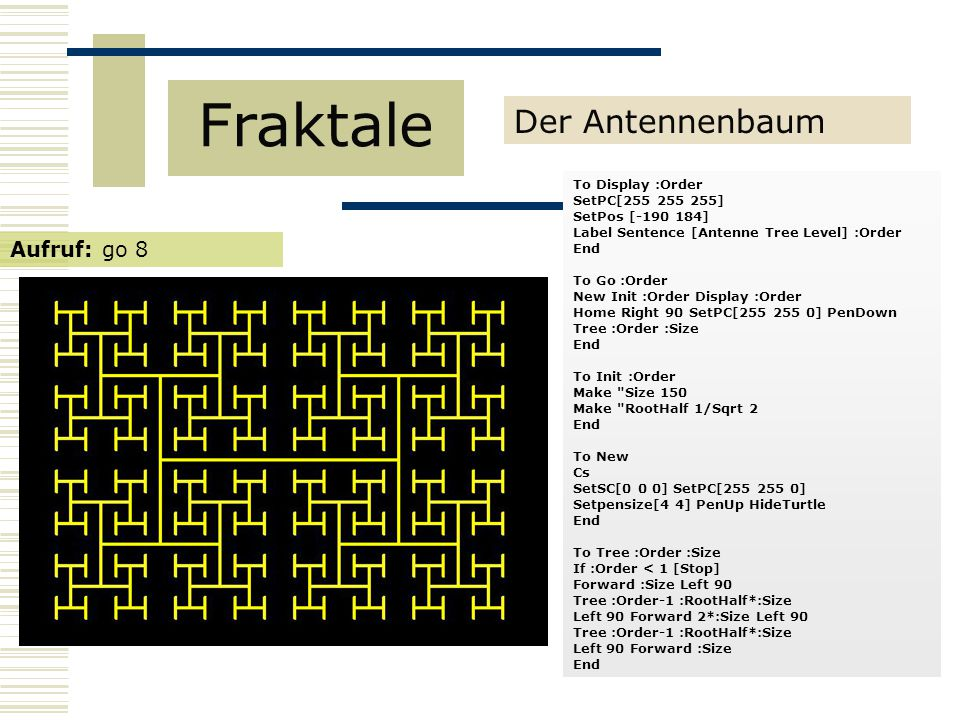 Fraktale Der Antennenbaum Aufruf: go 8 To Display :Order