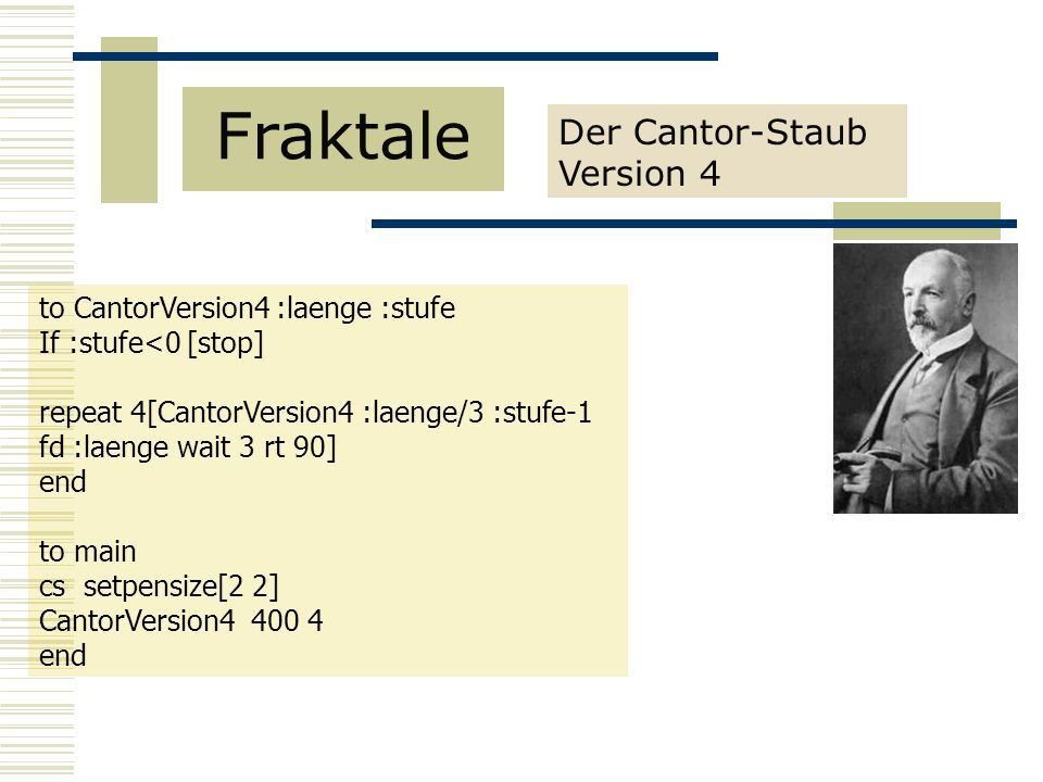 Fraktale Der Cantor-Staub Version 4 to CantorVersion4 :laenge :stufe
