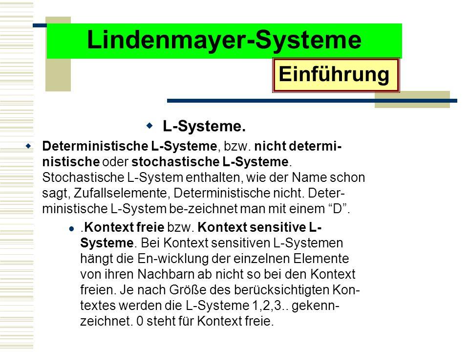 Lindenmayer-Systeme Einführung L-Systeme.